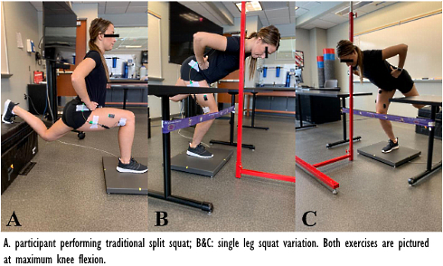 De single leg-squat ontwikkelt de bilspieren, de split-squat de quads
